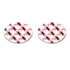 Flamingo Pineapple Tropical Pink Pattern Cufflinks (oval) by CrypticFragmentsColors