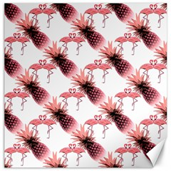 Flamingo Pineapple Tropical Pink Pattern Canvas 12  X 12   by CrypticFragmentsColors