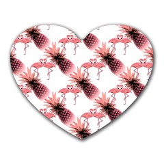 Flamingo Pineapple Tropical Pink Pattern Heart Mousepads by CrypticFragmentsColors