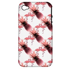 Flamingo Pineapple Tropical Pink Pattern Apple Iphone 4/4s Hardshell Case (pc+silicone) by CrypticFragmentsColors
