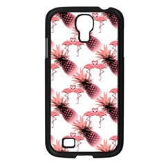 Flamingo Pineapple Tropical Pink Pattern Samsung Galaxy S4 I9500/ I9505 Case (black) by CrypticFragmentsColors