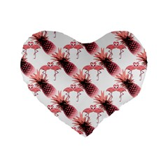 Flamingo Pineapple Tropical Pink Pattern Standard 16  Premium Flano Heart Shape Cushions