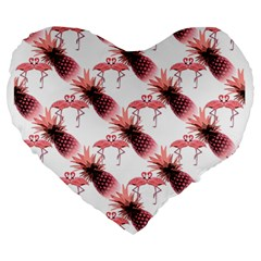 Flamingo Pineapple Tropical Pink Pattern Large 19  Premium Flano Heart Shape Cushions