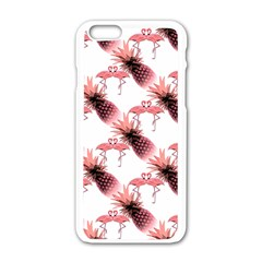 Flamingo Pineapple Tropical Pink Pattern Apple Iphone 6/6s White Enamel Case by CrypticFragmentsColors