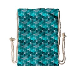 Aquamarine Geometric Triangles Pattern Drawstring Bag (small) by KirstenStar