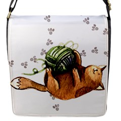 Lovely Cat Playing A Ball Of Wool Flap Messenger Bag (s) by TastefulDesigns