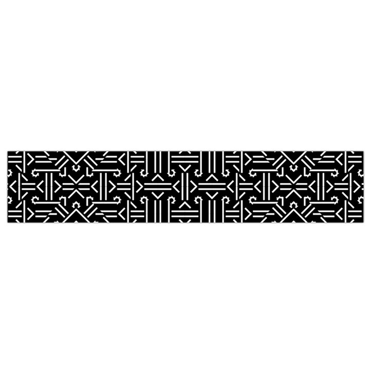 Black And White Ethnic Sharp Geometric  Print Flano Scarf (Small)