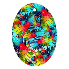 Watercolor Tropical Leaves Pattern Ornament (oval)  by TastefulDesigns