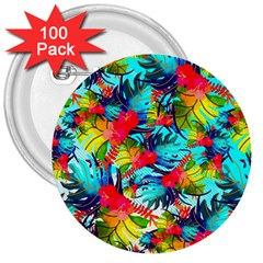Watercolor Tropical Leaves Pattern 3  Buttons (100 Pack)  by TastefulDesigns