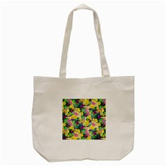 Tropical Flowers And Leaves Background Tote Bag (cream)