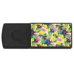 Tropical Flowers And Leaves Background Usb Flash Drive Rectangular (4 Gb)  by TastefulDesigns