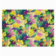 Tropical Flowers And Leaves Background Large Glasses Cloth (2 Side) by TastefulDesigns
