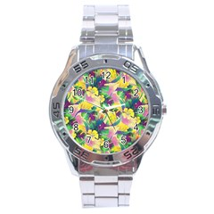 Tropical Flowers And Leaves Background Stainless Steel Analogue Watch by TastefulDesigns