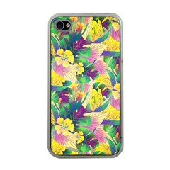 Tropical Flowers And Leaves Background Apple Iphone 4 Case (clear) by TastefulDesigns