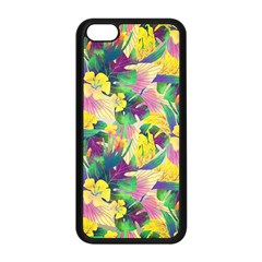 Tropical Flowers And Leaves Background Apple Iphone 5c Seamless Case (black) by TastefulDesigns
