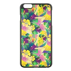 Tropical Flowers And Leaves Background Apple Iphone 6 Plus/6s Plus Black Enamel Case by TastefulDesigns