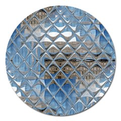 Mirrored Glass Tile Urban Industrial Magnet 5  (round) by CrypticFragmentsDesign