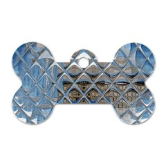 Mirrored Glass Tile Urban Industrial Dog Tag Bone (two Sides) by CrypticFragmentsDesign