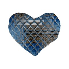 Mirrored Glass Tile Urban Industrial Standard 16  Premium Heart Shape Cushions by CrypticFragmentsDesign