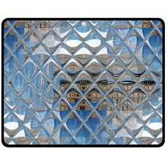 Mirrored Glass Tile Urban Industrial Double Sided Fleece Blanket (medium)  by CrypticFragmentsDesign