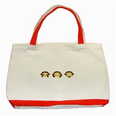 Three Wise Monkeys Classic Tote Bag (red)
