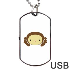 Three Wise Monkeys Dog Tag Usb Flash (two Sides)  by Shopimaginarystory