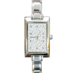 Whimsical Feather Pattern Dusk Blue Rectangle Italian Charm Watch by Zandiepants