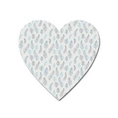 Whimsical Feather Pattern Dusk Blue Magnet (heart) by Zandiepants