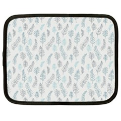 Whimsical Feather Pattern Dusk Blue Netbook Case (xxl) by Zandiepants
