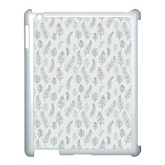 Whimsical Feather Pattern Dusk Blue Apple Ipad 3/4 Case (white) by Zandiepants