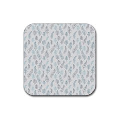 Whimsical Feather Pattern Dusk Blue Rubber Square Coaster (4 Pack) by Zandiepants