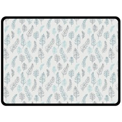 Whimsical Feather Pattern Dusk Blue Double Sided Fleece Blanket (large) by Zandiepants