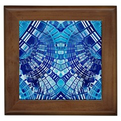 Blue Mirror Abstract Geometric Framed Tiles by CrypticFragmentsDesign