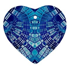 Blue Mirror Abstract Geometric Heart Ornament (2 Sides) by CrypticFragmentsDesign