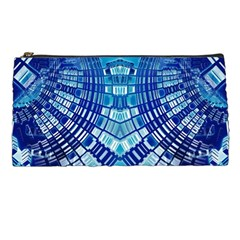 Blue Mirror Abstract Geometric Pencil Cases by CrypticFragmentsDesign