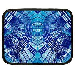 Blue Mirror Abstract Geometric Netbook Case (xl)  by CrypticFragmentsDesign
