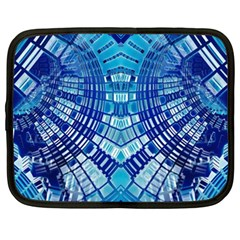 Blue Mirror Abstract Geometric Netbook Case (xxl)  by CrypticFragmentsDesign