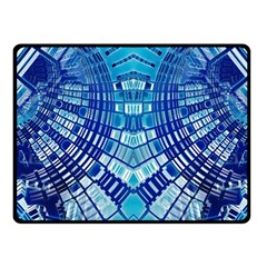 Blue Mirror Abstract Geometric Fleece Blanket (small) by CrypticFragmentsDesign