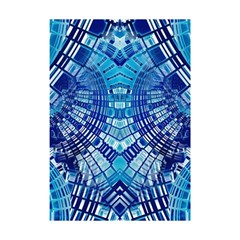 Blue Mirror Abstract Geometric Shower Curtain 48  X 72  (small)  by CrypticFragmentsDesign