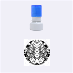 Blue Mirror Abstract Geometric Rubber Round Stamps (small) by CrypticFragmentsDesign