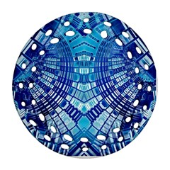 Blue Mirror Abstract Geometric Round Filigree Ornament (2side) by CrypticFragmentsDesign
