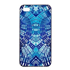 Blue Mirror Abstract Geometric Apple Iphone 4/4s Seamless Case (black) by CrypticFragmentsDesign