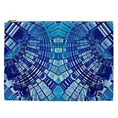 Blue Mirror Abstract Geometric Cosmetic Bag (xxl)  by CrypticFragmentsDesign