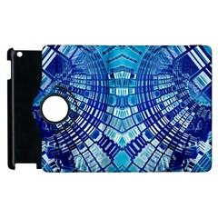 Blue Mirror Abstract Geometric Apple Ipad 3/4 Flip 360 Case by CrypticFragmentsDesign