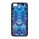 Blue Mirror Abstract Geometric Apple iPhone 5C Seamless Case (Black) Front