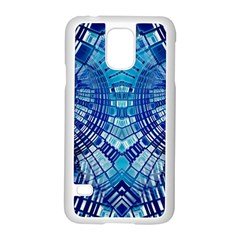 Blue Mirror Abstract Geometric Samsung Galaxy S5 Case (white) by CrypticFragmentsDesign