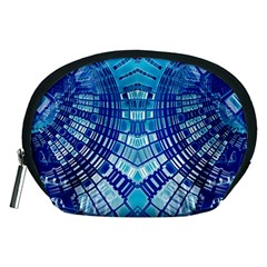Blue Mirror Abstract Geometric Accessory Pouches (medium)