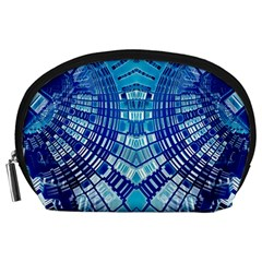 Blue Mirror Abstract Geometric Accessory Pouches (large)  by CrypticFragmentsDesign