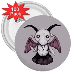 Plushie Baphomet 3  Buttons (100 Pack)  by lvbart