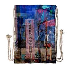 Las Vegas Strip Walking Tour Drawstring Bag (large) by CrypticFragmentsDesign
